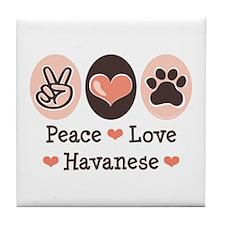 Peace Love Havanese Tile Coaster