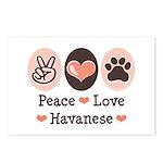 Peace Love Havanese Postcards (Package of 8)