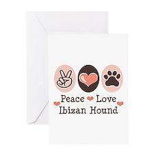 Peace Love Ibizan Hound Greeting Card