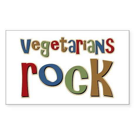 Vegetarians Rock Rectangle Sticker