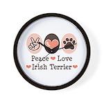 Peace Love Irish Terrier Wall Clock