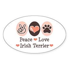 Peace Love Irish Terrier Oval Decal
