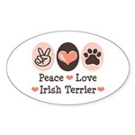 Peace Love Irish Terrier Oval Sticker