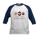 Peace Love Irish Terrier Kids Baseball Jersey