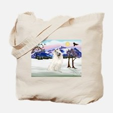 Samoyed in Snow Country Tote Bag