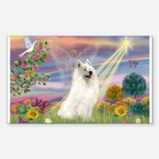 Cloud Angel & Samoyed Rectangle Decal