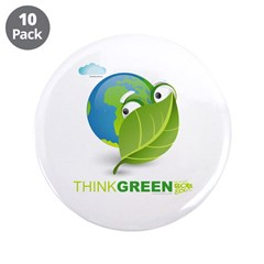 "Think Green 3.5"" Button (10 pack)"