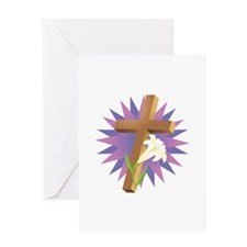 Cross & Easter Lily Design Greeting Card