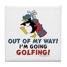 Golfing Penguin Tile Coaster