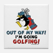 Golfing Penguin Tile Coaster