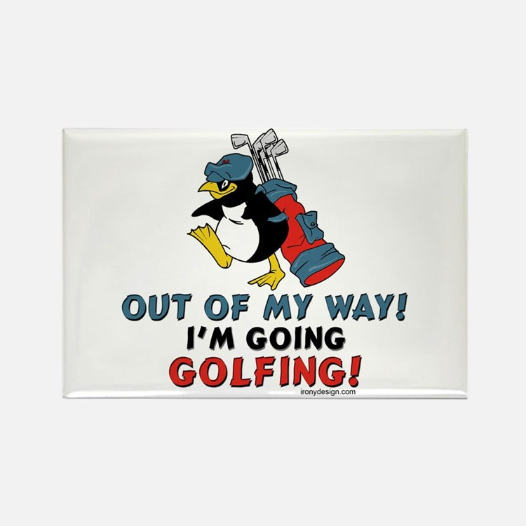 Golfing Penguin Rectangle Magnet