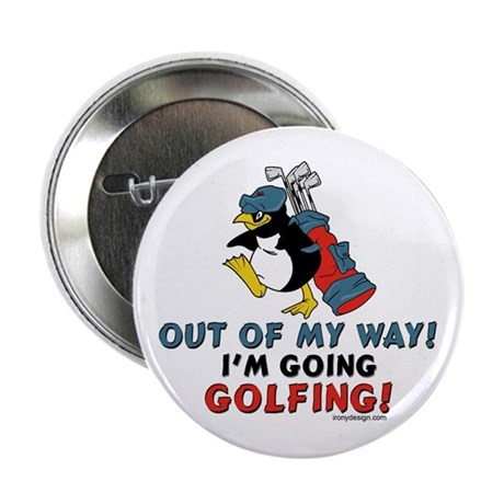 Golfing Penguin Button