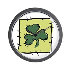 Irish Shamrock Quilting Block Wall Clock