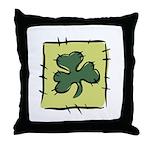Irish Shamrock Quilting Block Throw Pillow