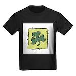 Irish Shamrock Quilting Block Kids Dark T-Shirt