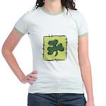 Irish Shamrock Quilting Block Jr. Ringer T-Shirt
