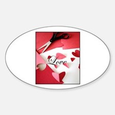 Cropped Paper Hearts - Love V Oval Decal