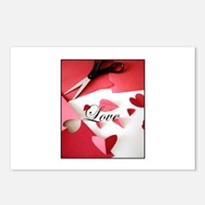 Cropped Paper Hearts - Love V Postcards (Package o