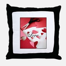 Cropped Paper Hearts - Love V Throw Pillow