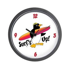 Surf's Up! Penguin Wall Clock