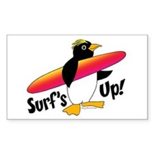 Surf's Up! Penguin Rectangle Decal