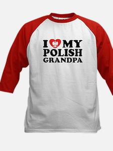 I Love My Polish Grandpa Kids Baseball Jersey