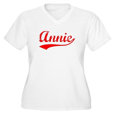 Vintage Annie (Red) Women's Plus Size V-Neck T-Shi
