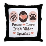 Peace Love Irish Water Spaniel Throw Pillow
