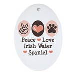 Peace Love Irish Water Spaniel Oval Ornament