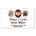 Peace Love Irish Water Spaniel Sticker (Rectangula