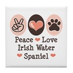 Peace Love Irish Water Spaniel Tile Coaster
