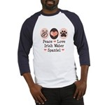 Peace Love Irish Water Spaniel Baseball Jersey