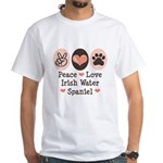 Peace Love Irish Water Spaniel White T-Shirt