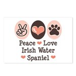 Peace Love Irish Water Spaniel Postcards (Package