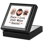 Peace Love Irish Water Spaniel Keepsake Box