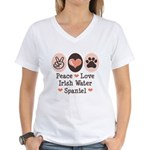 Peace Love Irish Water Spaniel Women's V-Neck T-Sh