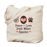 Peace Love Irish Water Spaniel Tote Bag