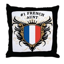 Number One French Aunt Throw Pillow