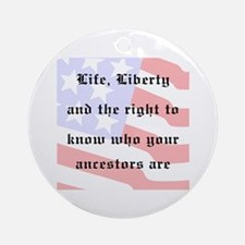 Genealogists Rights Ornament (Round)