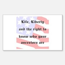 Genealogists Rights Rectangle Decal