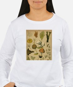 Antique Botanical Mushroom Wmn's Long Sleeve Tee