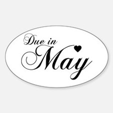 Due In May - Chopin Script Oval Decal