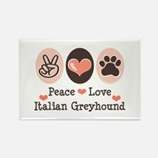Peace Love Italian Greyhound Rectangle Magnet (10