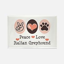 Peace Love Italian Greyhound Rectangle Magnet (100