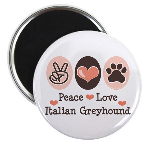 "Peace Love Italian Greyhound 2.25"" Magnet (10 pack"