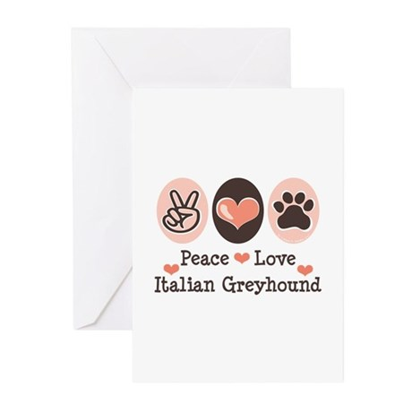Peace Love Italian Greyhound Greeting Cards (Pk of