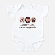 Peace Love Italian Greyhound Infant Bodysuit