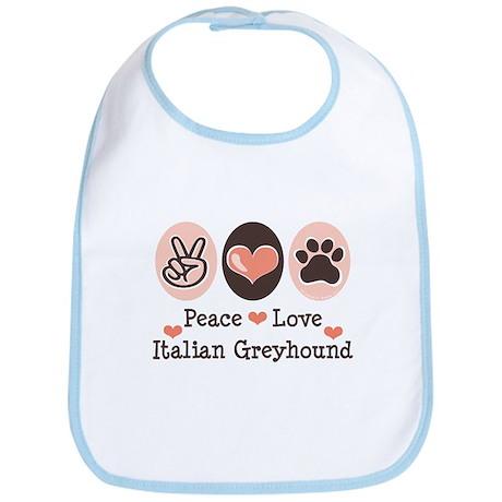 Peace Love Italian Greyhound Bib