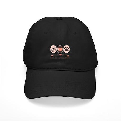 Peace Love Italian Greyhound Black Cap