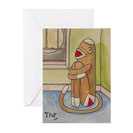 Sad Sock Monkey Greeting Cards (Pk of 20)